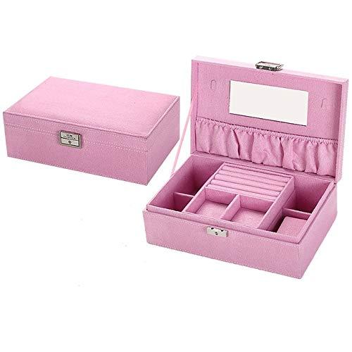 Großhandel Prinzessin Europäischen Holz Schmuckschatulle Kosmetik Aufbewahrungsbox Mit Spiegel Schmuck Haken Halter Schmuckschatulle 5 Farbe, Rosa