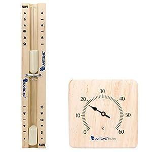 2 tlg. Sauna Set mit Sanduhr 15 Minuten und Infrarotkabinen Bimetall, Analog Thermometer aus Kiefer massiv