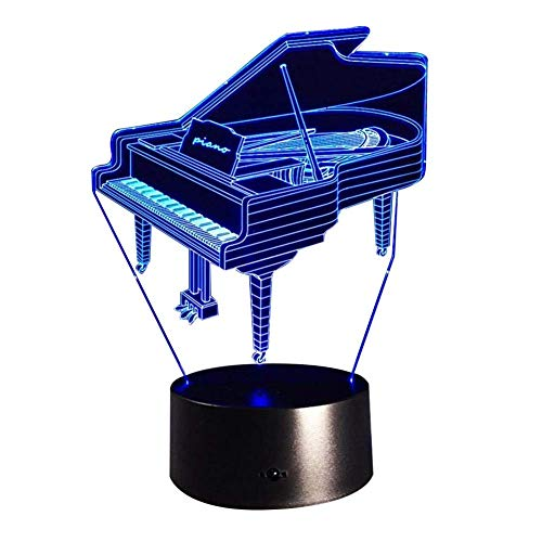 s Nachtlicht Klavier 3D Illusion Lampe Visuelle Wirkung Nachtlicht 7 Farben Ändern mit Smart Touch Switch Kreative Geschenk Spielzeug Dekorationen Emotionales Nachtlicht ()