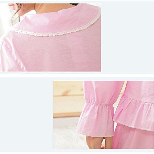 DMMSS Ladies Pyjamas Coton Belle Pyjamas Set 2 Pièces Revers Manches Longues Ensembles Pyjamas Pink