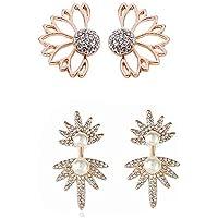2 Pares Personalidad de la Moda Hollow Lotus Pendientes de Flores Crystal Simply Chic Pendientes Stud