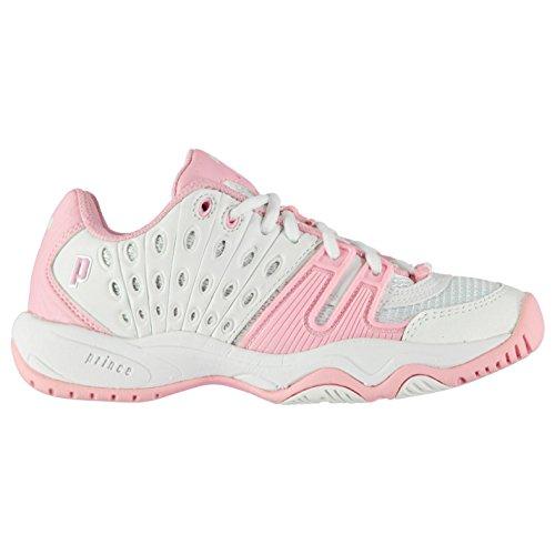 Prince T22 Kinder Tennis Schuhe Sportschuhe Turnschuhe Kontrast Details Weiß/Rosa 4 (37) (Prince Squash-schuhe)