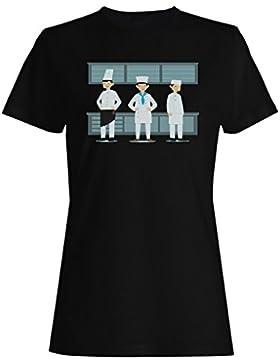 Nueva Variedad Cocineros Sonrisa Divertida camiseta de las mujeres l671f