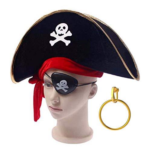 raten-Kostümpaket als Verkleidung zu Kostümpartys Geburtstage Junggesellenabschiede Einheitsgröße Hut Augenklappe und Gold-Ohrring ()