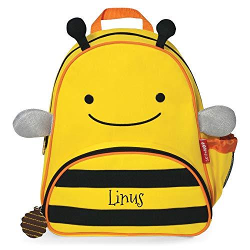 Skip Hop Rucksack mit Namen für Kinder | Motiv Biene in gelb & schwarz für Jungen & für Mädchen | Kindergarten-Rucksack mit Tieren | inkl. Namensdruck personalisiert & Bedruckt
