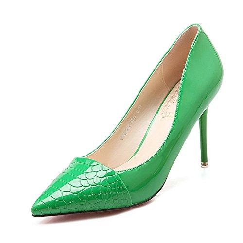 Damen Pumps Spitze Slip On Kurzschaft Stilettos Neuheiten Brautschuhe Grün