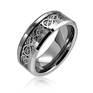 Tungsten Celtic Dragon Black Inlay Comfort Fit Wedding Band