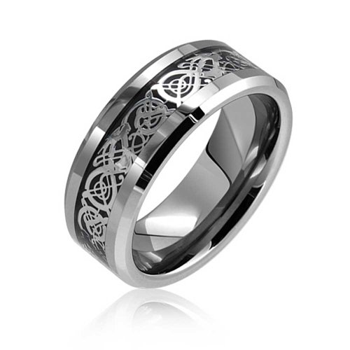 Bling Jewelry celtiques de tungstène noir Dragon Inlay Comfort Fit Bande de Mariage