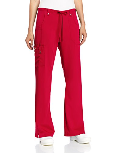 Dickies Women's Xtreme Stretch Fit Drawstring Flare Leg Pant, Red, XXX-Large Petite (Uniform Flare Petite)