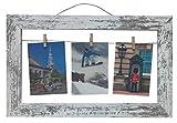 Unbekannt Fotorahmen Bilderrahmen für 3 Fotos Holz mit Seil/Leine und Klammern 26 x 28 cm weiß antik