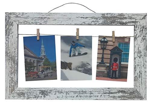 Antike Leinen Holz (Unbekannt Fotorahmen Bilderrahmen für 3 Fotos Holz mit Seil/Leine und Klammern 46 x 28 cm weiß antik)