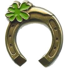 Hufeisen mit Kleeblatt Glücksbringer Glückssymbol Metall Pin Anstecker 0148