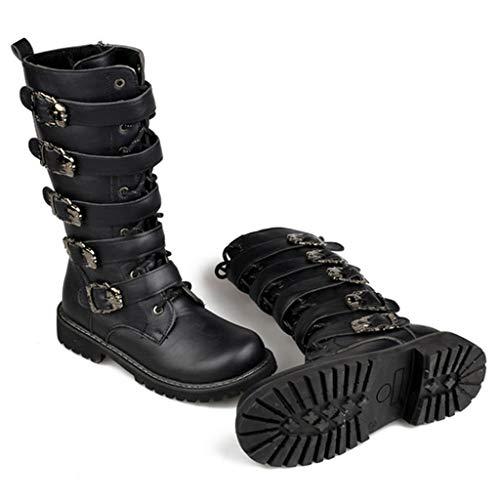 Alaeo Punk Metallschnalle Ritter-Stiefel High Tube Martin Stiefel in Übergröße PU Leder Lange Stiefel für Herren Outdoor-Sportarten Motorrad Fahren,Black,42 (Herren-stiefel-13)