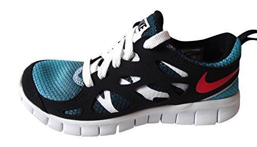 Nike Free Run 2 (Gs), 443742-021, Unisex - Kinder Laufschuhe Training - turquoise blue laser crimson black white 460, US4Y|UK3.5|EU36 (460 Laser)