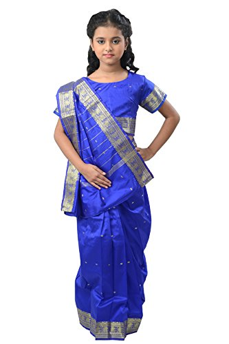 Pratima Girl's Party Wear Hot Royal Blue with Jari border silk Ready...