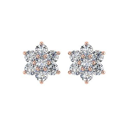 Delight femmes de diamant 18K boucles d'oreille Clous en forme de fleur (si1-si2, 3/4carat)
