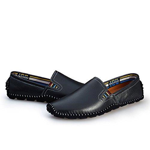 AFFINEST Mens cuir sans-gêne occasionnels mocassins chaussures de bateau de conduite Nior