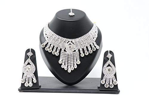 Crown Inglis Lady Impressive Traditional Immitation Jewellery Gold American Diamond Plated Golden Brass Earrings Drop Earring Imitation Stone Mangalsutra Necklace Set Black Bead Chain for Women