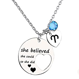 Ensianth She Believed She Could So She Did Necklace Gift For Women girl, Inspirational Necklace (Aries)