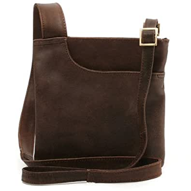 M Collection Cross-Body Bag - Carla - Distressed Leather - Brown