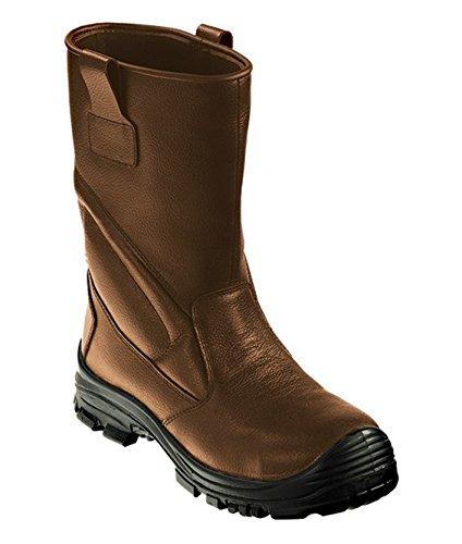 Euro Protection - Stivali impermeabili con tomaio in pelle, con puntale e lamina antiforo. Categoria S3. - Taglia: 38