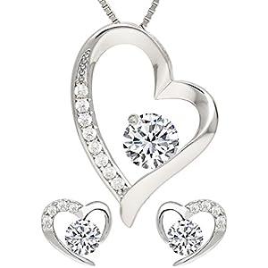 KianaLice My Heart Schmuckset aus 925 Sterling Silber mit Weiß Zirkonia Stein bestehend aus Herz Anhänger, Ohrstecker und 45 cm Damen Halskette im Etui