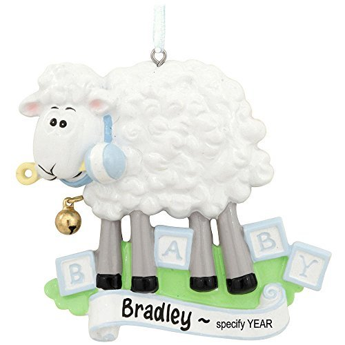 Baby Sheep Blue Personalized Christmas Tree Ornament by THE SOLAR GIANT/POLAR X