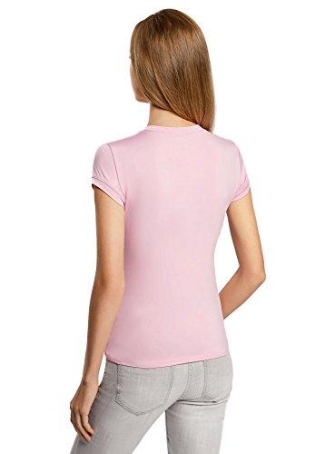 oodji Ultra Damen Gerade Geschnittenes T-Shirt mit Rundem Ausschnitt Rosa (4000N)