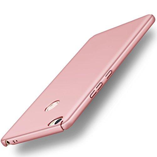 Funda Xiaomi Mi Max 2 Max2, Caso con [Protector de Pantalla de Cristal Templado] [Ultra-Delgado] [Ligera] Anti-Rasguño y Anti-Huellas Dactilares Totalmente Protectora Estuche de Plástico Duro -Rosa