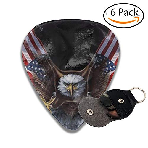 American Bald Eagle Celluloid Guitar Picks 6 Pack Includes Thin, Medium, Heavy & Extra Heavy Gauges(0.96mm) - Bald Eagle Artwork