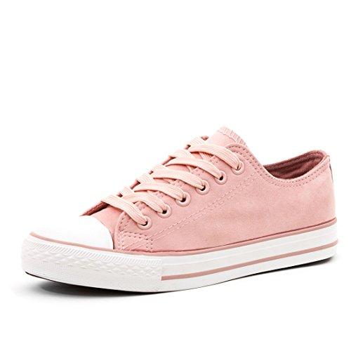 Marimo Klassische Damen Schuhe Low Top Schnür Sneaker Turnschuhe Pink 36