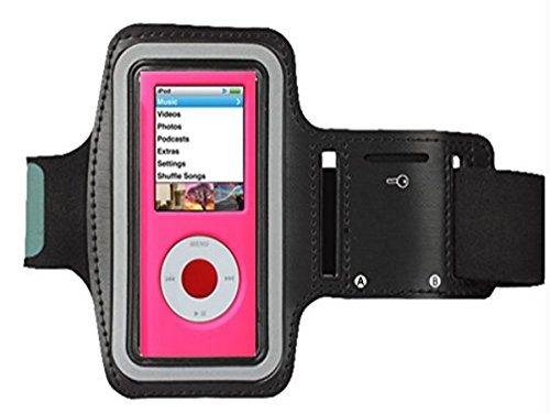 CFZC Featured with Scratch-Resistant Material, Slim Lightweight, Dual Arm-Size Slots (for Small and Large Arms), Sweat Proof and Key Pocket[Sport Gym Bike Cycle Jogging Running Walking] MP3 Player Armband. [Black]