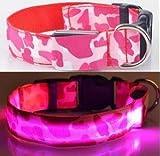 AGIA TEX Germany LED Hundehalsband - Leuchthalsband für Hunde inkl. Batterie (XL, Rosa Tarnfarbe)