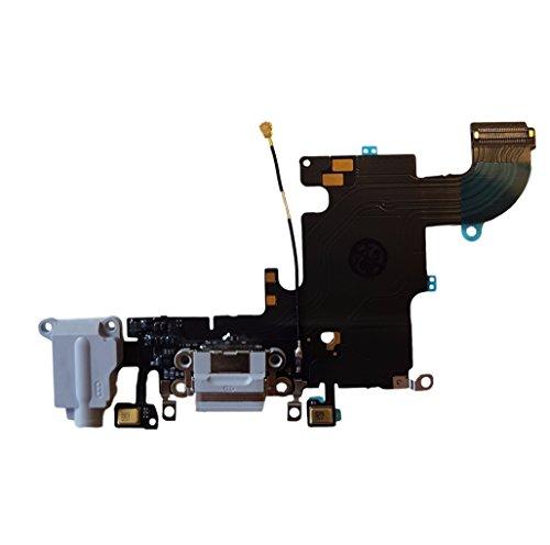 Smartex Conector de Carga de Repuesto Compatible con iPhone 6S Gris Claro – Dock de repeusto con Cable Flex, Altavoz, Antena, Micrófono y Conexión Botón de Inicio.