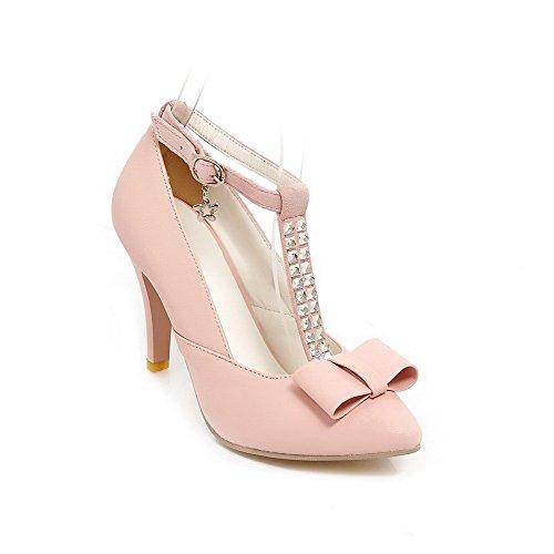 AgooLar Damen Eingelegt Nubukleder Hoher Absatz Spitz Zehe Schnalle Pumps Schuhe Pink