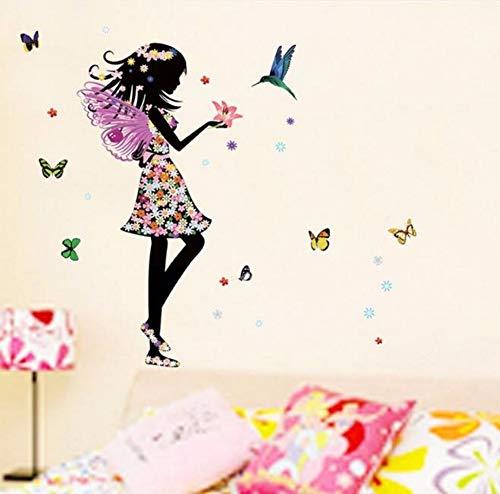 Xzfddn Flower Fairy Schmetterling Wandaufkleber Aufkleber Mädchen Schlafzimmer Dekoration Flügel Engel Mädchen Diy Wandsticker Rosa Stil Tropfenverschiffen