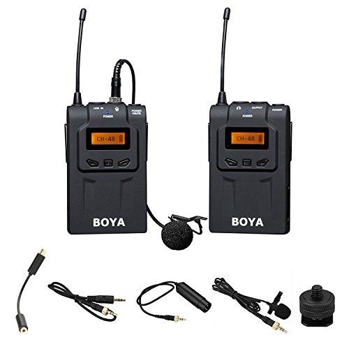 Microphone sans fil Audio Recorder, BOYA BY-WM6 UHF Professional Système de Lavalier sans fil Lavalier professionnel pour Canon Nikon Sony DSLR GoPro Hero 4 3 3+