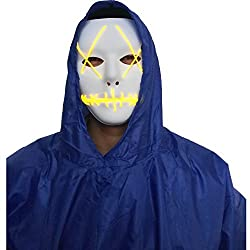 Halloween Mask Cosplay LED Glow Scary EL Wire Light Up Grin Masks for Festival Parties Costume (Yellow) by A-MORE