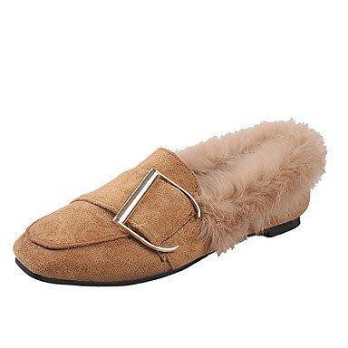 Wuyulunbi@ Scarpe donna Inverno Primavera Comfort Appartamenti tacco piatto Round Toe punta chiusa la fibbia per abbigliamento casual Nero Marrone US8.5 / EU39 / UK6.5 / CN40