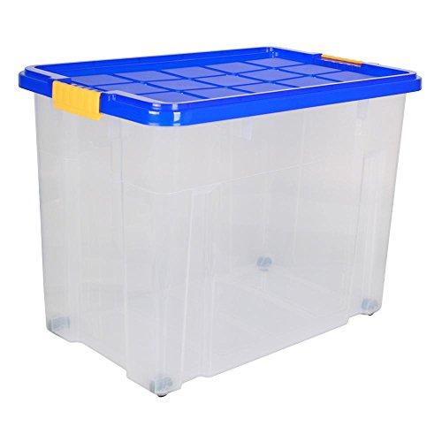 6 Stück AXENTIA Unibox mit Deckel und Rollen Stapelbox Universalbox Aufbewahrungskiste Spielzeugbox 60 x 40 x 44,5cm 80 Liter
