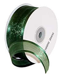 Premier Packaging AMZN-19319 Satin Edge Ribbon with Wire, 1-1/2-Inch by 25-Yard, Hunter Green