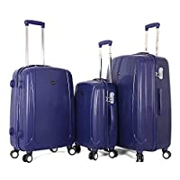 Giordano Luggage Trolley Bags Set, 3 Pcs With 4 Wheel, Navy - 25-003