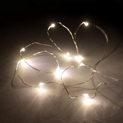 warmweiße Kristall LED Lichterkette 1m 10Leds batteriebetrieben Warmweiß für Innen - Weihnachten oder Dekoration