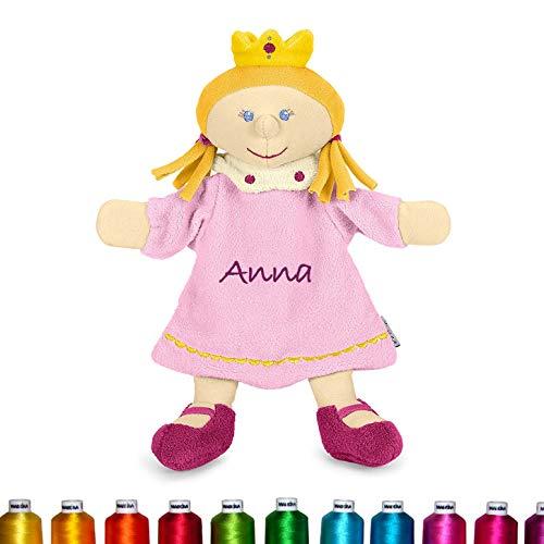 LALALO Sterntaler Handpuppe Bestickt mit Namen (Prinzessin), Plüsch Schmusetuch, Kuscheltuch, Geschenk Mädchen Taufe & Geburt
