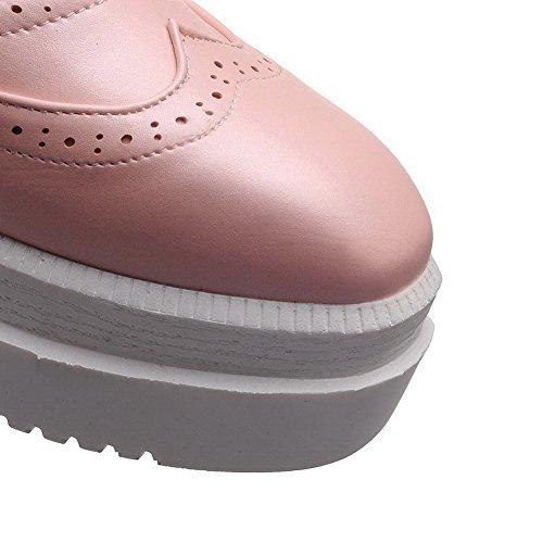 AllhqFashion Femme Rond Lacet Pu Cuir Couleur Unie à Talon Correct Chaussures Légeres Rose