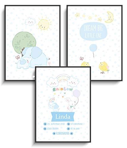 Personalisierte Geschenke DIN A4 Prints 3er Set Bilder Geburt Süße Baby Tiere 2 ohne Rahmen Design Wolken Regenbogen Elefant Mond Sterne Hase Süße Jugend