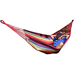 Hamaca de algodón colorido para dos personas, cómoda, superficie aprox. 210x 150cm, para viajes, camping, playa, jardín, balcón, vacaciones, diseñada para exteriores, incluye bolsa de viaje, hasta mín. 250 kg de carga -