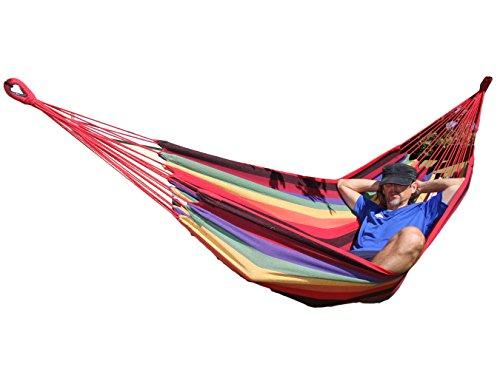 Deux Personnes Hamac en coton farbenfrohe Surface de couchage env. 200x 150cm confortable pour Voyage Camping Plage Jardin Balcon simple vacances Convient intérieur extérieur–avec sacs de voyage–Charge jusqu'à 200kg avec échange garantie