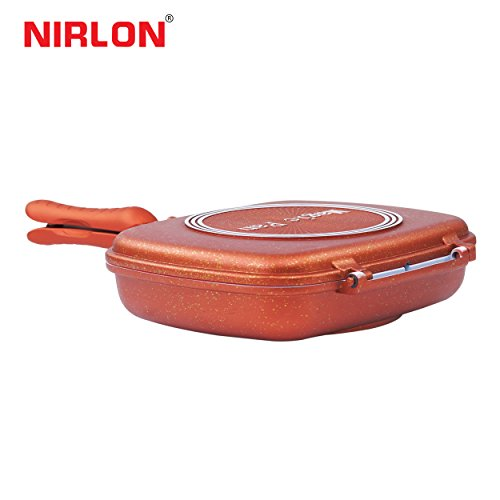 Nirlon Non-Stick Ceramic Frying Pan, 22.5cm, Brown/White
