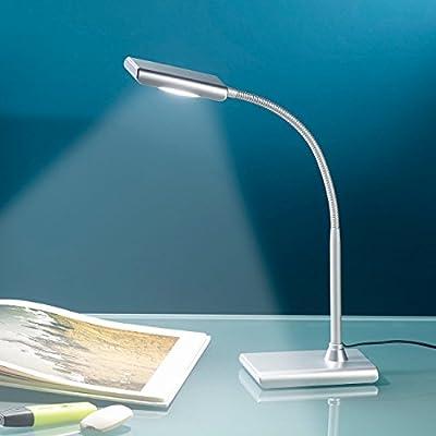 Lunartec LED-Schreibtischlampe 6 W mit Schwanenhals, silbern von Lunartec - Lampenhans.de